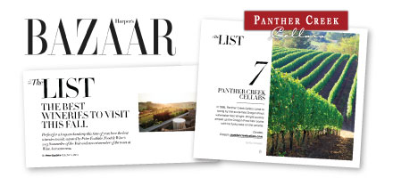 Panther Creek Named a Best Winery to Visit This Fall by Harper's Bazaar