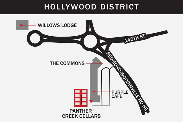 Panther Creek Cellars Hollywood District Map